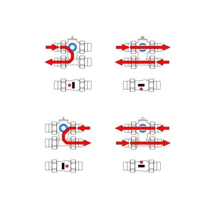 4-Wege-Ventil mit Bypass